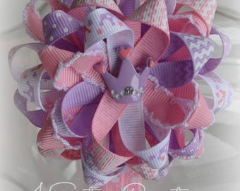 Princess Flower Loop Bow  Purple Pink Crown Print and Custom Chevron with Pink Dot interchangeable headband