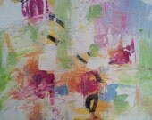 Original Abstract Oil Painting, expressionist, pink, blue, green, canvas