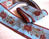 Teal Blue Rust Green Flowered Striped French Silk Rayon Fancy Ribbon, Blue Orange Ribbon Trim, Elegant Vintage Style Trim, Millinery Ribbon