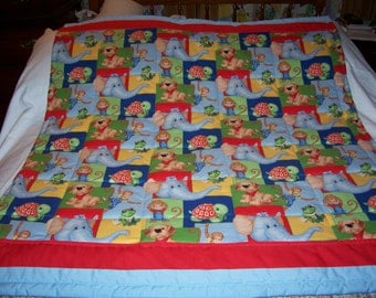 Handmade Baby Cute Monkeys, Elephants, Turtles Cotton Baby/Toddler Quilt-Newly Made 2017