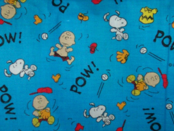 Peanuts Fabric Charlie Brown Snoopy Baseball By
