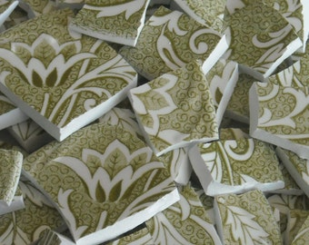 Vintage Moss Green Floral Handcut Mosaic Tiles from Plates M15