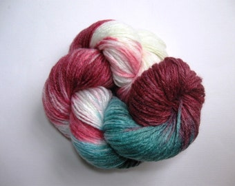 Hand Painted Yarn, DK, No.3 light, 193 yards, 175m, dark purple, teal fuchsia, non wool---Peony 1