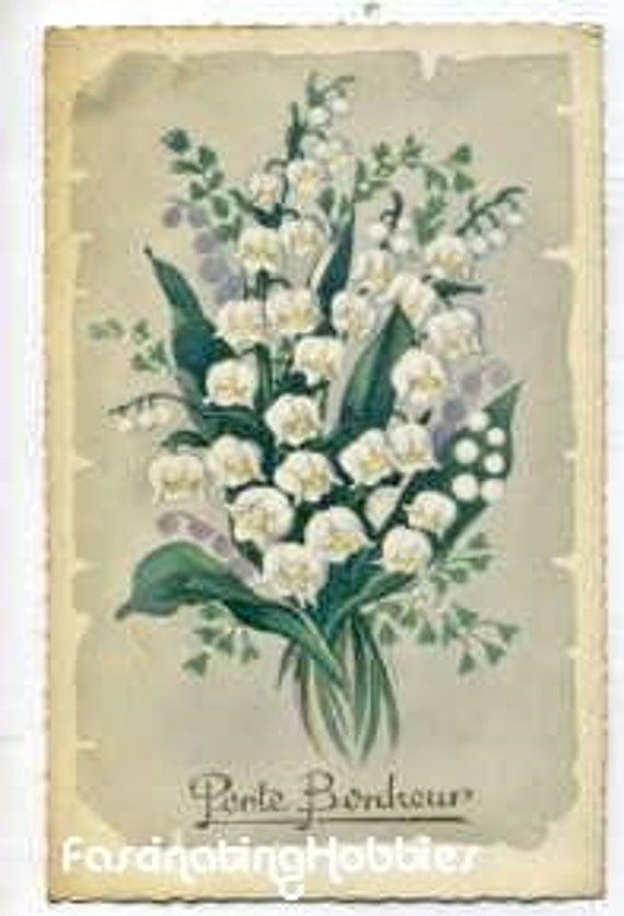 1962 - LILY of the VALLEY- Good LUCK wishes - Postcard - french