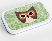 LITTLE OWL-Grass Green (Empty Gift Tin/Altered Tin/Altoid Tin/Pill Box)