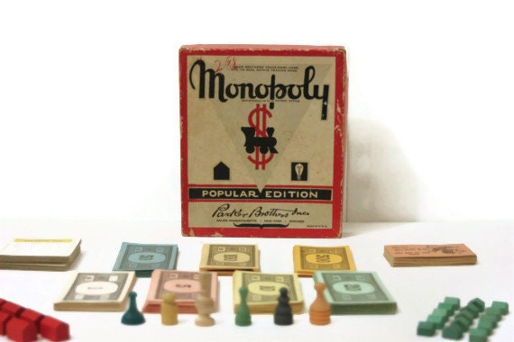 Vintage 1953 Monopoly Popular Edition Game Pieces Rare Mustache Red Box