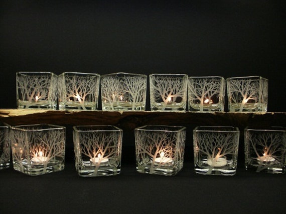 12 Glass Cube Tree Candle Holders . 'Reaching Branches' . Hand Engraved Wedding Decor . Woodland Decoration .Take 15% OFF At Checkout