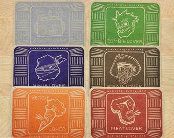Original Lover Series Letterpress Postcard 6 Pack