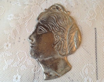 Antique Milagros Figural Lady Head Religious Altar Offering Altarware Mexico