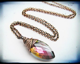 Wire Wrapped Copper Mauve Crystal Pendant
