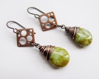 Wire Wrapped Czech Glass Teardops with Antique Copper Swiss Cheese Diamonds - Your choice of 11 colors