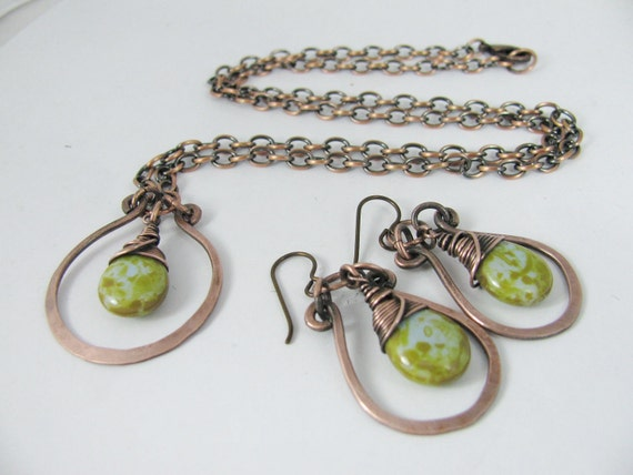 Czech Glass and Hammered Copper Necklace and Earring Set- your choice of 11 colors