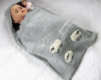 Hand Knit Alpaca Wool Baby Sleeping Bag for Boy or Girl - Sheep to Count Embroidery - 0M to 12M