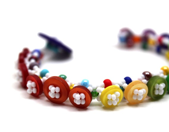 Beaded Bracelet - Button Embellished -  Rainbow Bright Colorful Multicolored by randomcreative on Etsy
