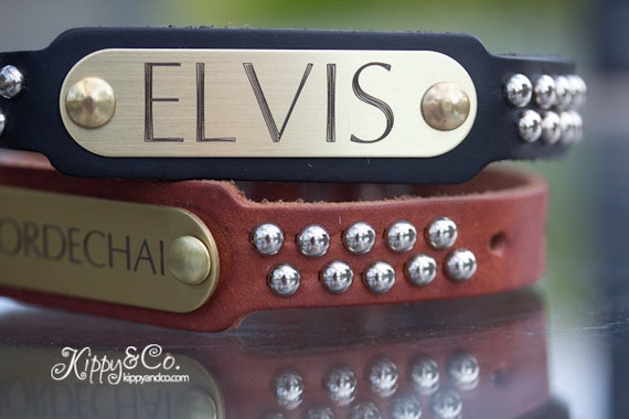 Silver Name Plate Dog Collar, Leather Studded Dog Collar, Personalized Leather Collar, Engraved Leather Collar, Leather Dog Collar