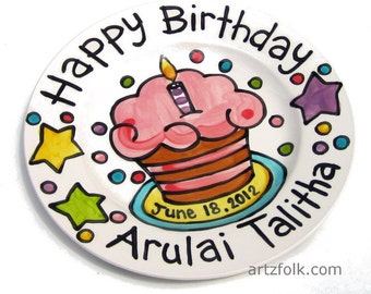 CUSTOM ceramic cupcake party Birthday Cake Plate Personalized great for TWINS