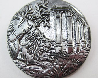 button antique silver lion story collectible