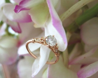 Engagement Ring and Wedding Band, Handforged Copyrighted Petal Lotus Design in 18k Rose Gold -- Made to Order (Price will Vary)