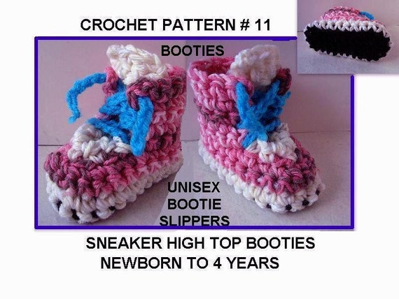 Crochet High Top Booties Free Pattern : 11 Crochet Pattern. Sneaker Bootie High Tops.. newborn to age