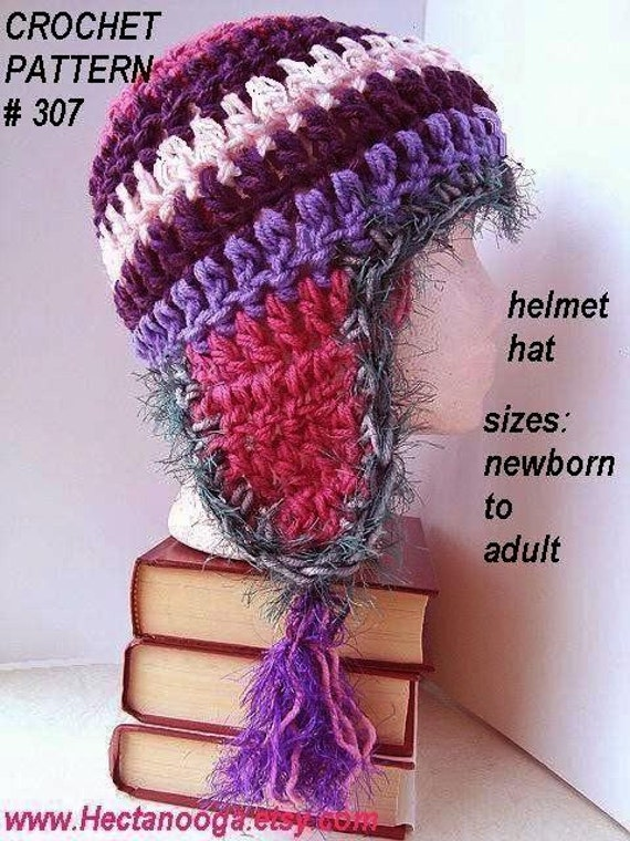 Crochet Pattern hat, Chunky helmet hat with tassels num 307.. 30 minute project all sizes Permission to sell your finished hats.