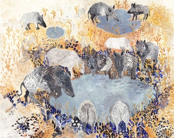 Wild Boar and Water Hole  - Original painting