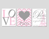 Girl Wall Art - Set of Three 11x14 Prints - LOVE, Chevron Heart, PARIS Is Always A Good Idea Audrey Hepburn Quote - Choose Your Colors