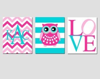Girl Nursery Art Nursery Decor Trio - Set of Three 8x10 Prints - Stripe Owl, Chevron Monogram initials, Love - CHOOSE YOUR COLORS