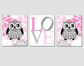 Kids Wall Art - Nursery Art Trio - Set of Three 8x10 Prints - Floral Owl, Love Typography - CHOOSE YOUR COLORS - Shown in Pink and Gray