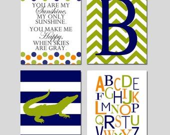 Alligator Quad - Set of Four 8x10 Prints - Kids Nursery Wall Art - You Are My Sunshine, Chevron Monogram, Striped Alligator, Alphabet