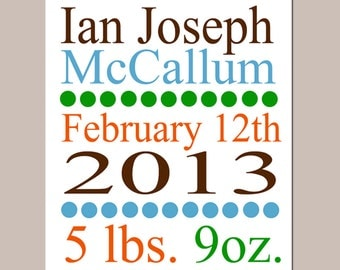 Birth Announcement - 11x14 Custom Print - Baby Nursery Art - Boy or Girl - Baby Shower Gift - Choose Design, Colors, and Information