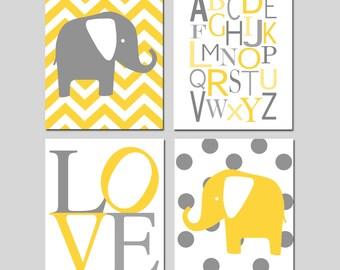 Yellow Gray Nursery Art Quad - Chevron Elephant, Modern Alphabet, LOVE, Polka Dot Elephant - Set of Four 11x14 Prints - Choose Your Colors