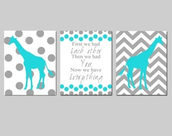 Nursery Art Trio - Set of Three 8x10 Prints - First We Had Each Other Quote, Polka Dot Chevron Giraffes or Elephants - CHOOSE YOUR COLORS