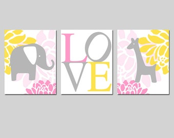 Elephant Giraffe Love Nursery Art Trio - Set of Three 8x10 Prints - CHOOSE YOUR COLORS - Pink, Lemon Yellow, Gray, and More