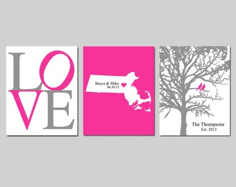 Modern Newlywed Trio - Set of Three 8x10 Customizable Prints - Love, Family Established Bird Tree, Love State Map - GREAT WEDDING GIFT