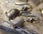 Little Puffy Silver Hill Tribe Fish Dangle Earrings