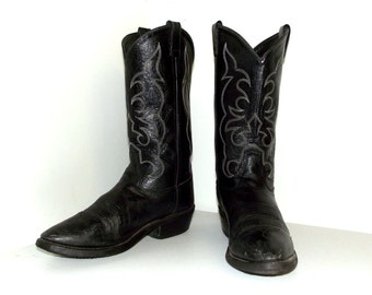 Rockin' Black  Leather cowboy boots size 9.5 EE or cowgirl size 11 wide width