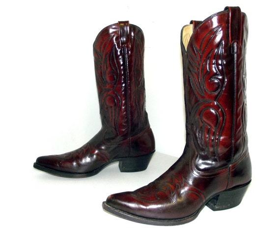 vintage j chisholm cowboy boots brown oxblood leather