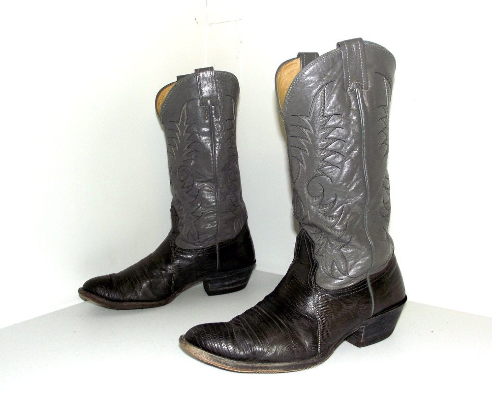 Two Tone Grey Nocona Brand Cowboy Boots Size 9 E Or Cowgirl