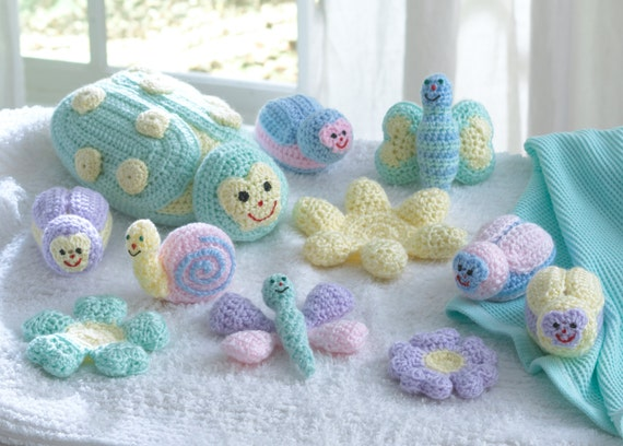 Free Easy Crochet Patterns For Baby Toys : Baby Bugs and Toys Crochet Pattern PDF