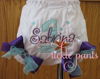 Mermaid...Under the Sea birthday bloomers- Purple and aqua- More colors available if needed