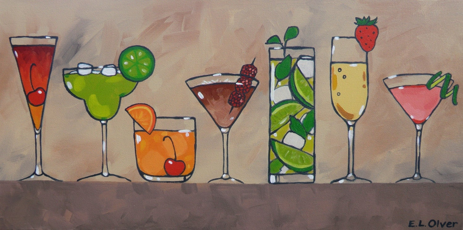 Pretty party drinks original acrylic painting 12 x 24 by for Pretty acrylic paintings