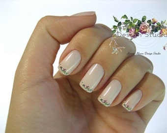 Shabby Very Chic Colorful Vintage Rose Floral Spray Nail Art Waterslide Miniature Water Decals - fw-043