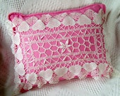 Head and Heart Handmade Pink Lace Pillow