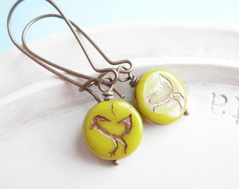 Bird Earrings - Tweet Earrings - Wasabi