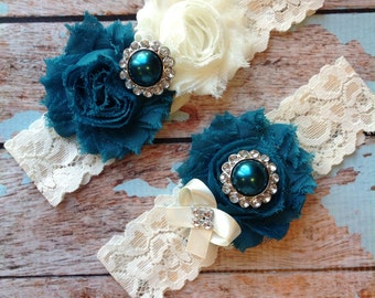 TEAL  wedding garter set / bridal  garter/  lace garter / toss garter included /  wedding garter / vintage inspired