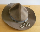 Boy Scout Hat 1950s Brown wool felt