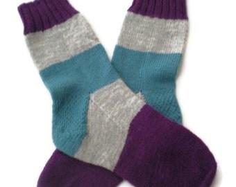 Socks - Hand Knit Women's Striped Socks in Purple, Gray and Aqua - Size 7-8.5