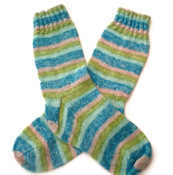 Socks - Hand Knit Women's Socks with Bright Stripes in Greens and Blues
