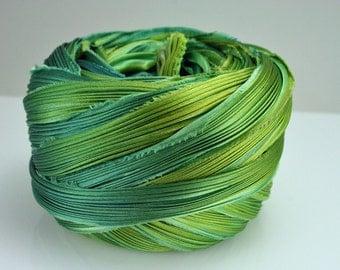 1 yd Shibori Ribbon Hand Dyed Shibori Silk Ribbon Spring Green Shibori Girl