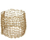 Gold Cuff Bracelet, Knitted Jewelry, Knit Bracelet, Wire Jewelry, Wide Cuff, Gift Ideas, Handmade in the USA, Hand Knit, Woven Wire, Cuff